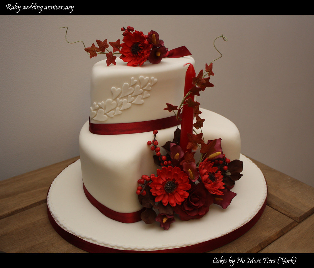 Ruby wedding anniversary cake Autumnal a photo on