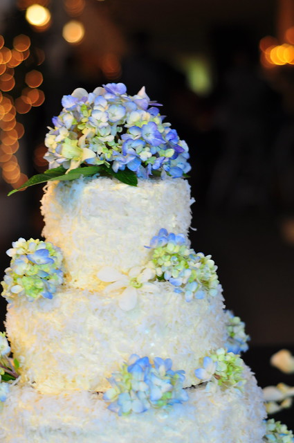 Chocolate Blackout Wedding Cake with Hydrangeas, by kimberlykv