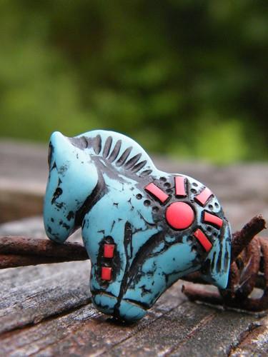 Turquoise Pony Bead - rising sun pattern