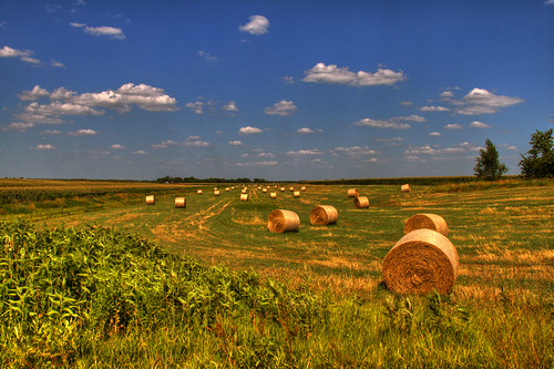 summer sky cloud hot field landscape corn farm horizon pollution heat kansas hay bales