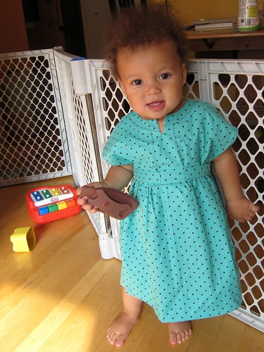 FO: Aqua & Brown Polka Dot Baby Dress