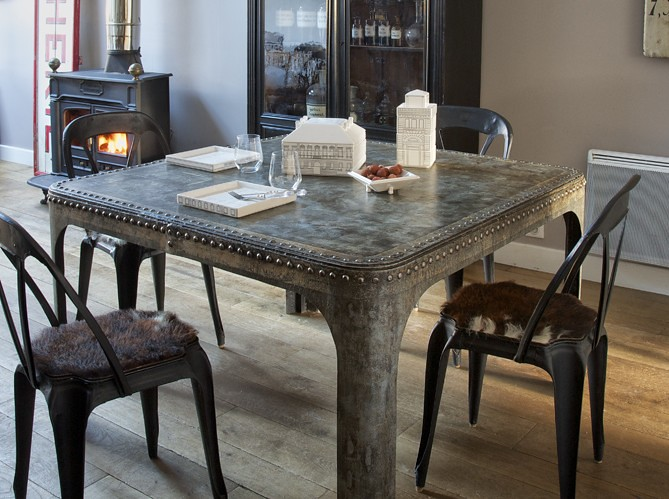 Dining Room Decorating Ideas Industrial Chic Metal Table Gray Grey Deco Decoration Eclectic Home