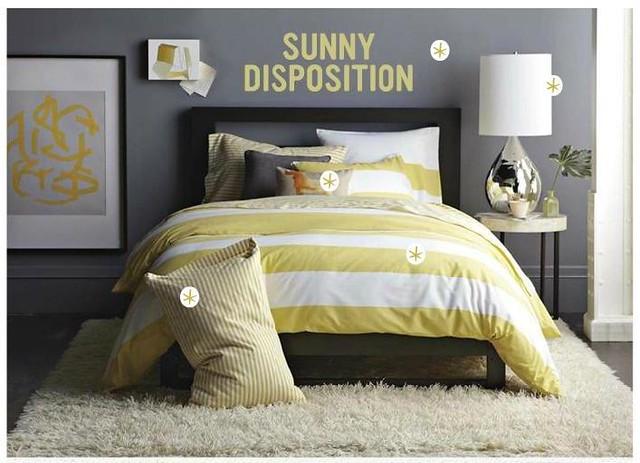Gray + Yellow Bedroom: Benjamin Moore 'Shadow Gray' In