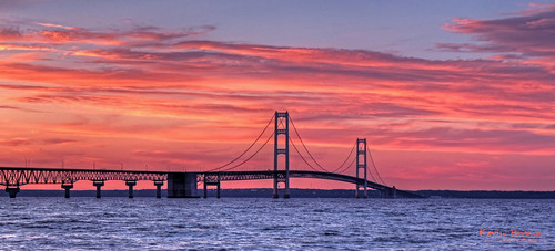 bridge blue sunset red sky orange sun water clouds michigan wave mackinac mackinaw tpslandscape