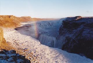rainbow over Gullfoss, Iceland, October 2000