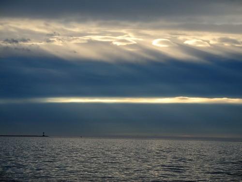 light sea clouds sunrise island li cool long day cloudy sound rays