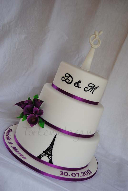 with purple Callas monogrammed with a Eiffel Tower From July 2011