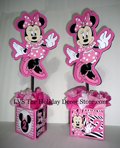 Minnie mouse personalized centerpiece zebra white black for Baby minnie mouse party decoration