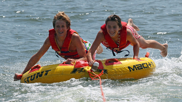 Tubing on Lake Michigan