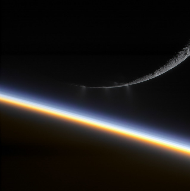 Enceladus and Saturn [colorized]