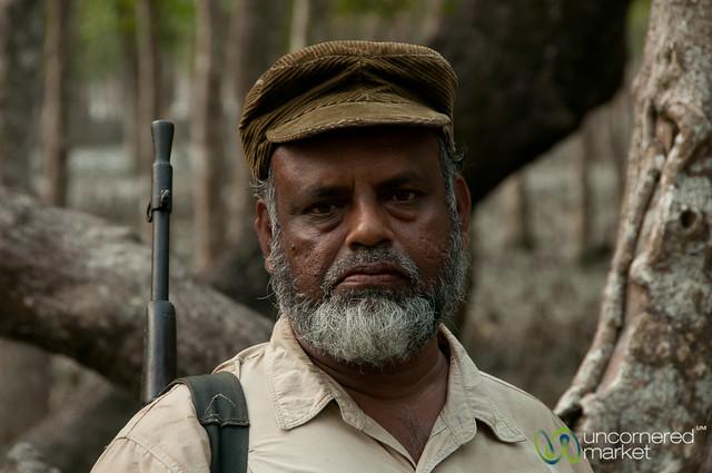 Guard with Hat and Gun - Sundarbans, Bangladesh