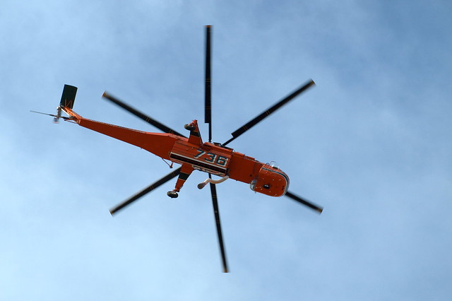 Sky crane chopper used to fight Las Conchas Fire takes off from Los Alamos Friday evening.  Photo by Jeff Berger.