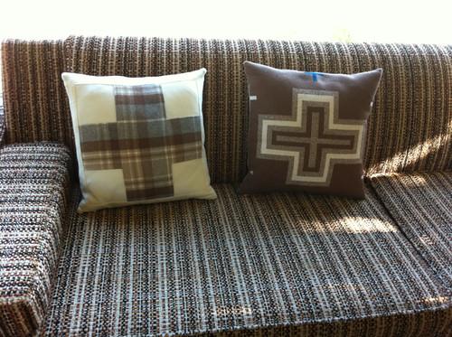 Woolen cross pillows - front + back