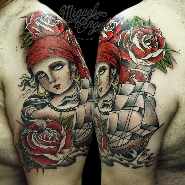 Custom pirate girl, ship and roses tattoo