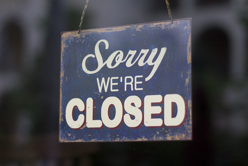 """Restaurant's """"Sorry we're Closed"""" sign"""