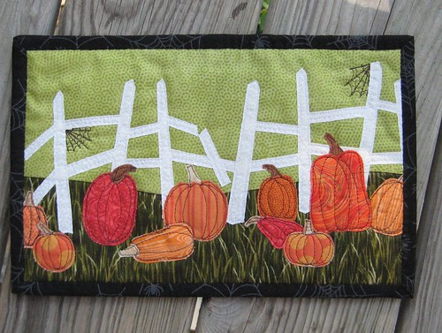 Back, Halloween Mug Rug Fence Pumpkins for Sale!