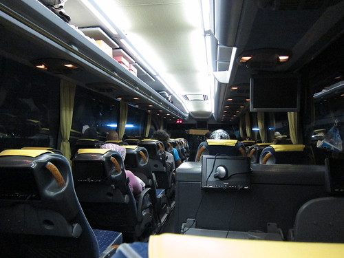 Night bus with private TVs