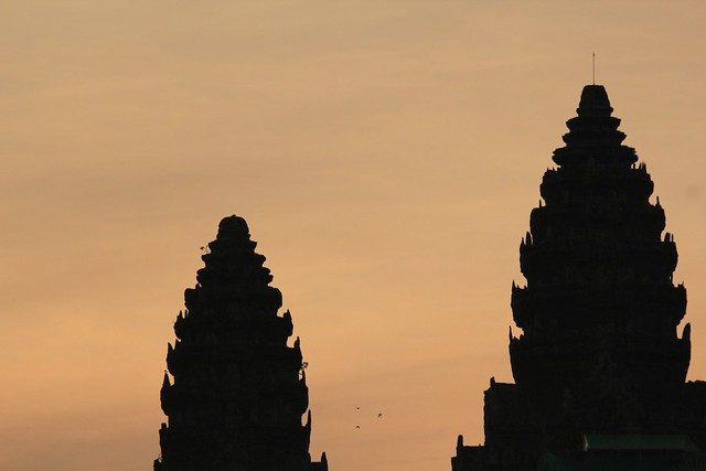 Angkor temple tops at Sunrise