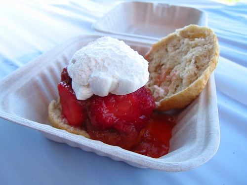 Strawberry-rhubarb shortcake on a nutmeg biscuit