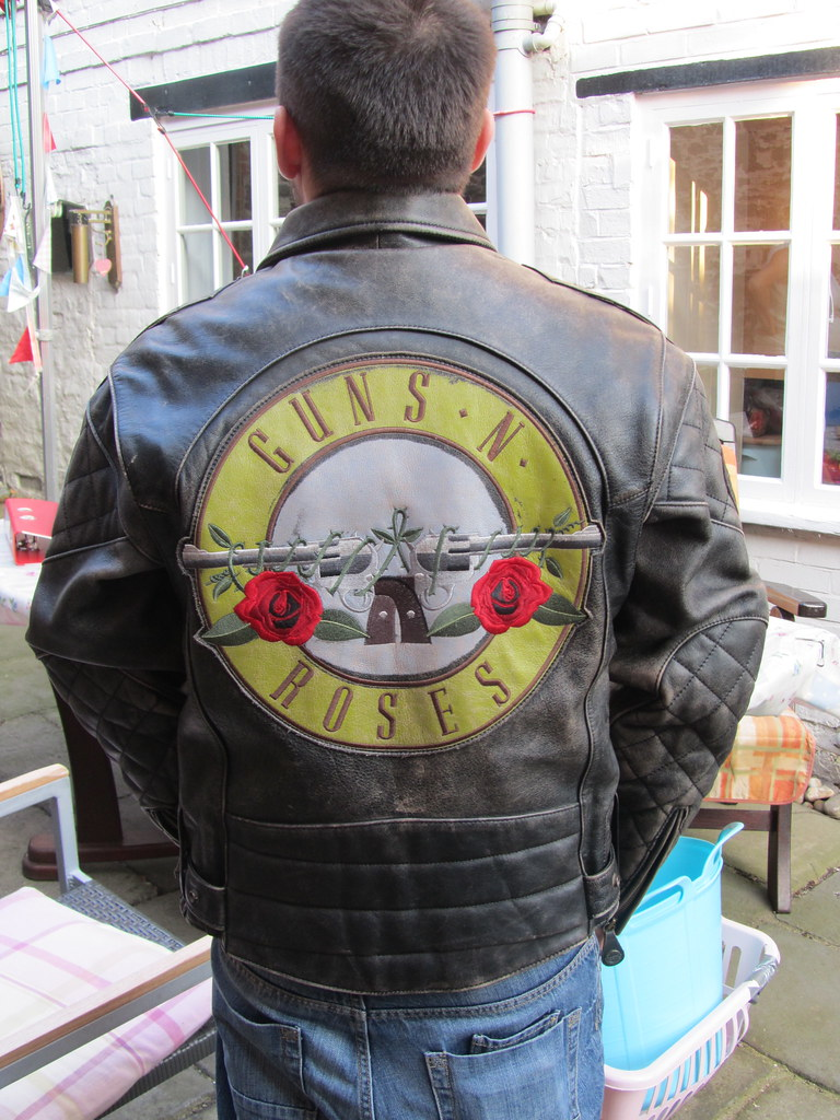 Leather jacket with roses -  The Back Guns And Roses Hein Gericke Speedware