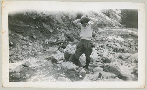 Two women hiking.