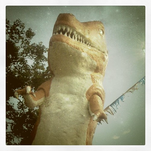 T-Rex, guardian of BYOB mini golf.