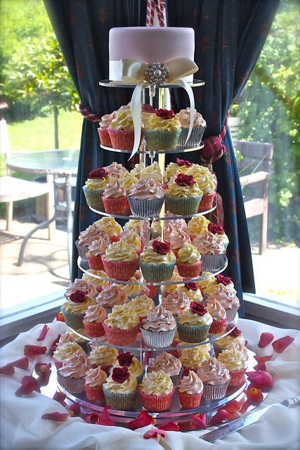 Vintage Pearl Red Rose Wedding Cupcake Tower