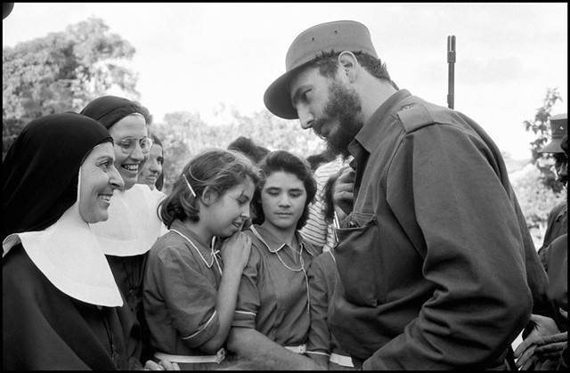 Fidel Castro speaking to a group of young women and nuns, Havana, 1959, by Burt Glinn