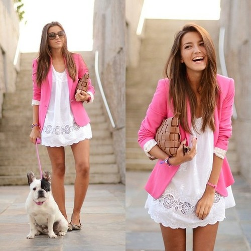 aec833ca85 ... White Dress with Pink Blazer