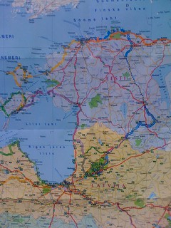 Latvija+Eesti map and bicycle routes