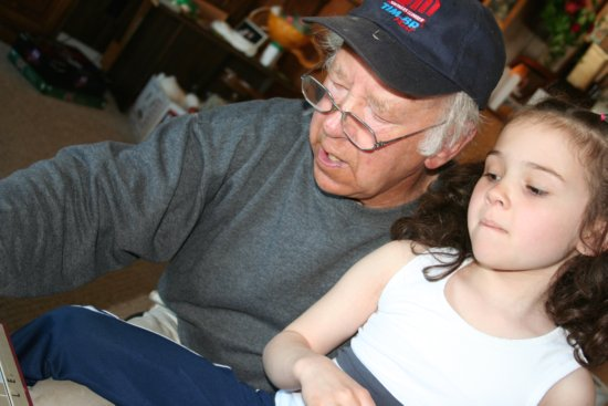 Opa and Kaylie play Scrabble