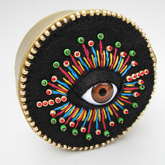 Bead Embroidered Cyclops Gold Treasure Box