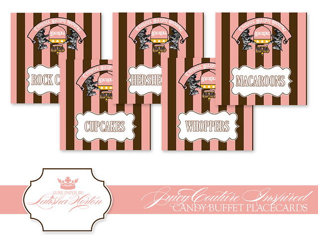 Juicy couture inspired printable candy buffet labels or for Couture labels