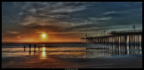 california sunset dog reflection beach water pier nikon surf wave pismo hdr d90 cmarkpatton