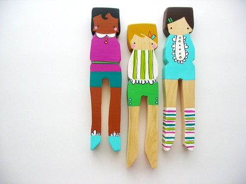 handmade folk art large clothespin dolls.