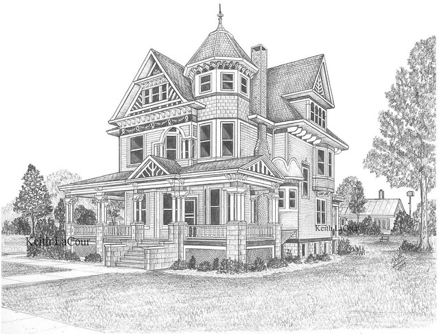Old Victorian House Drawing Old Victorian House Drawing