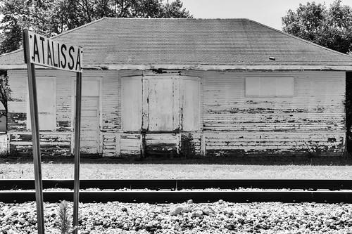 old railroad building abandoned station train vintage town small tracks iowa forgotten depot weathered derelict deserted dilapidated rockisland crip trackside us6 iais iowainterstate muscatinecounty atalissa
