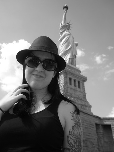 Toni at the Statue of Liberty