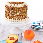 Peach Queen Cake with Dulce de Leche Swiss Meringue Buttercream