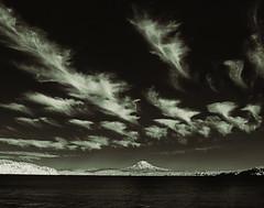 Rainier and Wispy Clouds