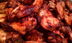 spare ribs(0.0), buffalo wing(1.0), roasting(1.0), grilling(1.0), barbecue chicken(1.0), goat meat(1.0), tandoori chicken(1.0), produce(1.0), food(1.0), dish(1.0), cuisine(1.0),