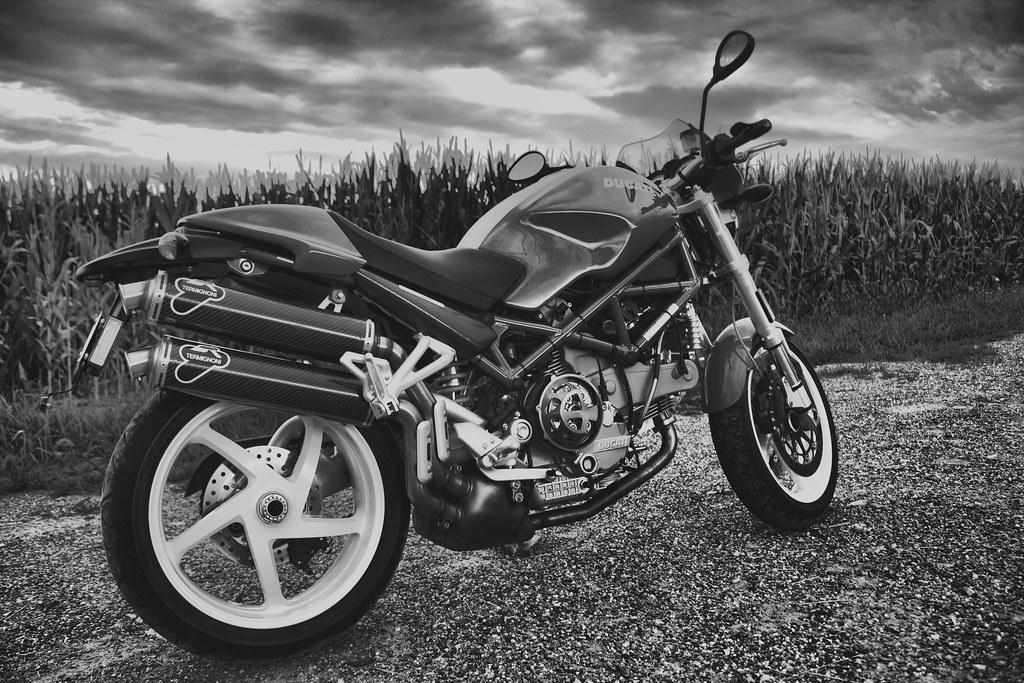 B&W Ducati Monster at Sunset
