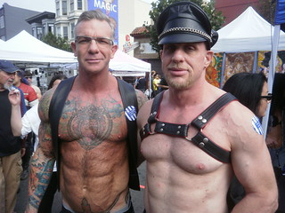 FOLSOM STREET FAIR 2011 - FSF 2011- LEATHER & LATEX FUN 435-WHOA DADDY-TWO HOT MUSCLE MEN-corey jay (on the left)