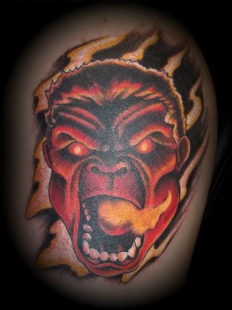 red hulk tattoo