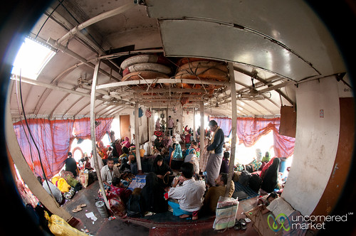 Fisheye View of Passengers Inside Rocket Steamer - Bangladesh