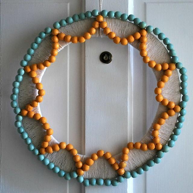 wood bead summer wreath flickr photo