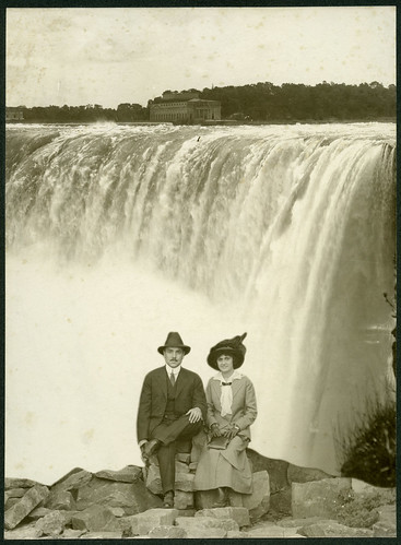 Isaac Jewett Dyer and Flora Chapron Dyer in front of Niagara Falls backdrop