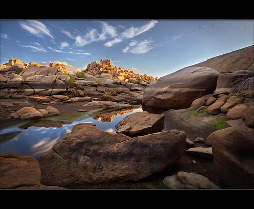sunset lake reflection pond desert joshuatree hoodoo barkerdam