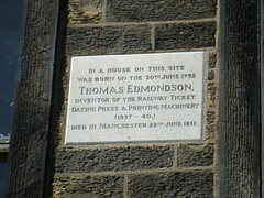 Photo of Thomas Edmondson stone plaque