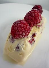 meal(0.0), blackberry(0.0), breakfast(0.0), pavlova(0.0), plant(0.0), whipped cream(0.0), produce(0.0), semifreddo(1.0), berry(1.0), ice cream(1.0), bavarian cream(1.0), frutti di bosco(1.0), fruit(1.0), food(1.0), dish(1.0), dairy product(1.0), dessert(1.0), raspberry(1.0),